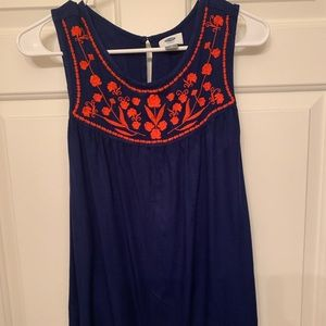 Navy tank with orange embroidery
